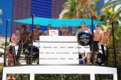 Chippendales invade the DJ booth at The Voo pool at Rio.