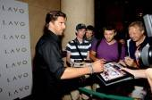 Henrick Lundqvist signs autographs for fans at Lavo.