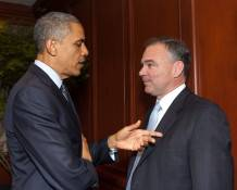 President Obama with current U.S. Senate candidate Tim Kaine