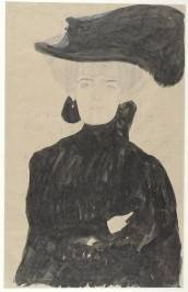 Gustav Klimt, Half-Length of a Lady in black wearing a Hat with a Feather, 1907 - 1908. Image courtesy of the Albertina, Vienna.