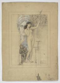 Gustav Klimt, Preparatory Drawing for the 'Allegory of Sculpture', with Studies of the Athena Parthenos at the Bottom, 1888 - 1889. Image courtesy of the Albertina, Vienna.