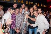 The LA Kings celebrate with the Standley Cup at Tao Nightclub.