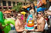 Nicole Scherzinger with her birthday cake at Tao Beach.