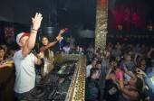 Nicole Scherzinger in the deejay booth at Tao.