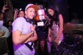 DJ Vice and Nicole Scherzinger  with her birthday cake at Tao.