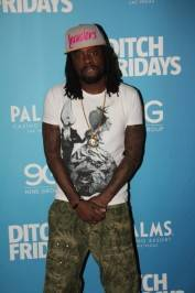 Wale walks the red carpet at the Palms Pool & Bungalow.
