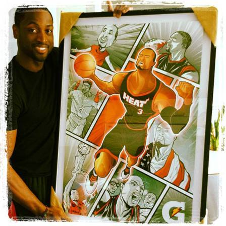 "Dwyane Wade tweets a collage of caricatures. Caption: ""Love this from my Gato family. A nice collage of great moments."""