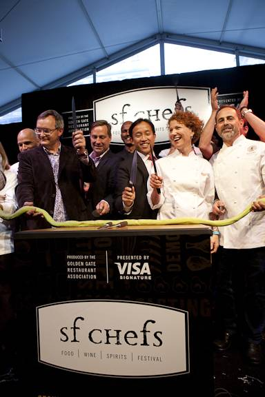 Celebrity Chefs at the Ribbon Cutting Ceremony.  Photographer: Rick Camargo