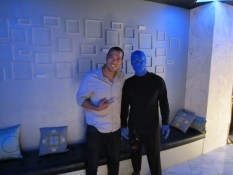 Comedian Michael Yo checks out the Blue Man Group.