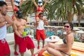 Adrianne Curry celebrates her 30th birthday at Encore Beach Club.