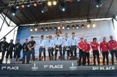 Award ceremony for Match Race winners Oracle Coutts, Oracle Spithill and Artemis Racing White.