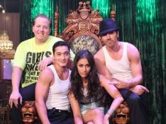 Janina Gavankar with the high-wire act at Absinthe. Photos: Joseph Sanders/Spiegelworld