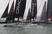 Oracle Team USA Spithill and  Coutts leading the fleet race