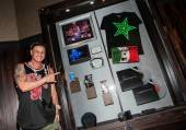Pauly D with his memorabilia case.