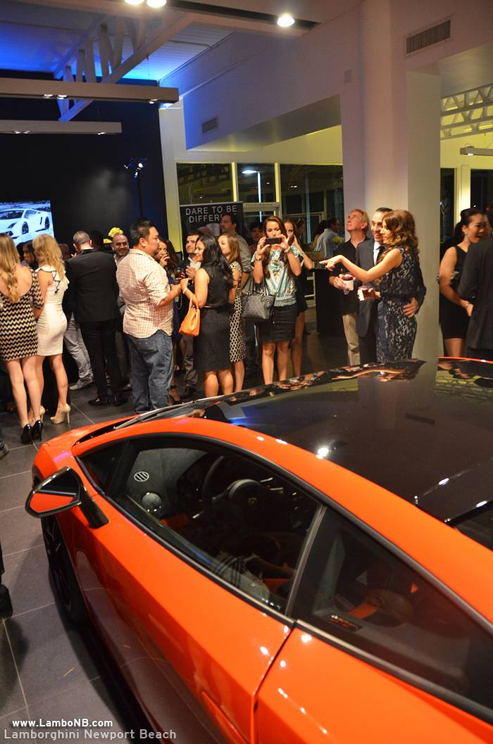 lamborghini Newport Beach 5 - Guests minglinig around a Lamborghini Gallardo LP 570-4 Super Trofeo Stradale