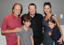 Michael Douglas and Catherine Zeta-Jones with their kids and Nathan Burton. Photos: Caesars Entertainment