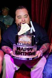 Chumlee eats his birthday cake at LAX Nightclub.