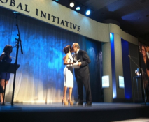 Me presenting to Carlos Slim for his philanthropy at the Clinton Global Initiative tonight!—Eva Longoria