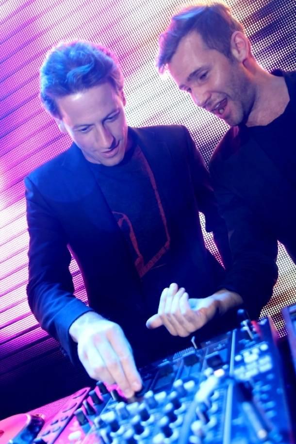 Ioan Gruffudd at the DJ booth with Zen Freeman at Rain Nightclub in Las Vegas 9.1.12