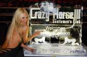 Jenna Jameson with her personalized ice sculpture inside Crazy Horse III.