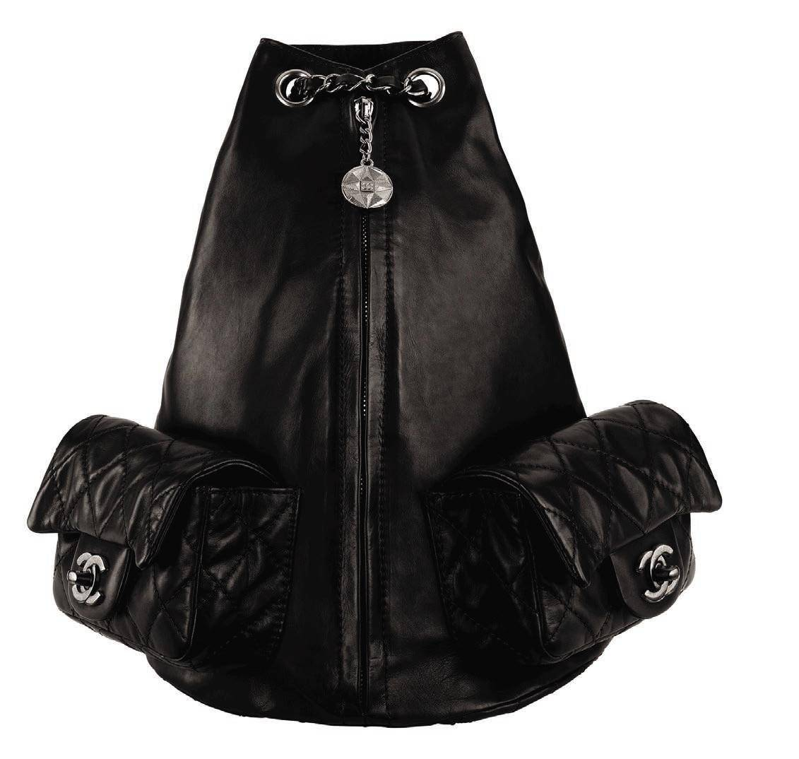 Large calf skin backpack, $3,300; available at Chanel