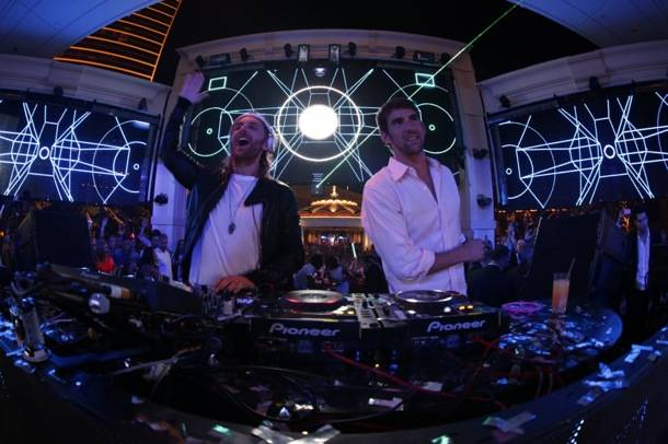 XS Nightclub 9.2.12 - David Guetta & Michael Phelps