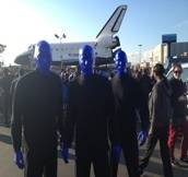 Haute Event: Blue Man Group Checks Out the Space Shuttle Endeavor