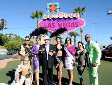 The €œWelcome to Fabulous Las Vegas sign and  marquees on the Las Vegas Strip went purple for €œSpirit Day€ on Oct. 19. Photos: Las Vegas New Bureau