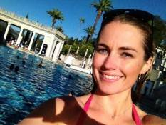 Great swim with the unsinkables! Even learned a synchronized swimming move at Hearst Castle.—Amanda Hearst