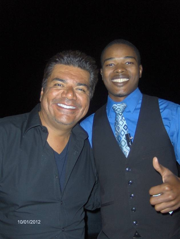 George Lopez with a fan at ghostbar in Palms Casino Resort Las Vegas 10.1.12