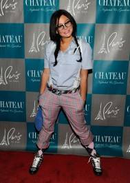 "Jenni ""JWoww"" Farley dresses as a nerd for Halloween at Chateau Nightclub."