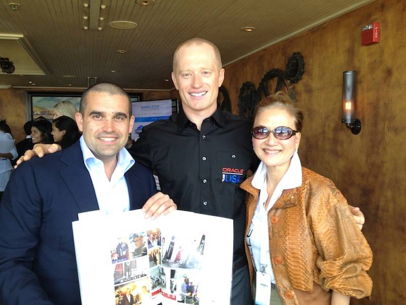 Seth and Olivia with Oracle Team USA skipper Jimmy Spithill