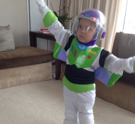 Buzz Lightyear learning how to fly. Happy Halloween. —Porschla Kidd