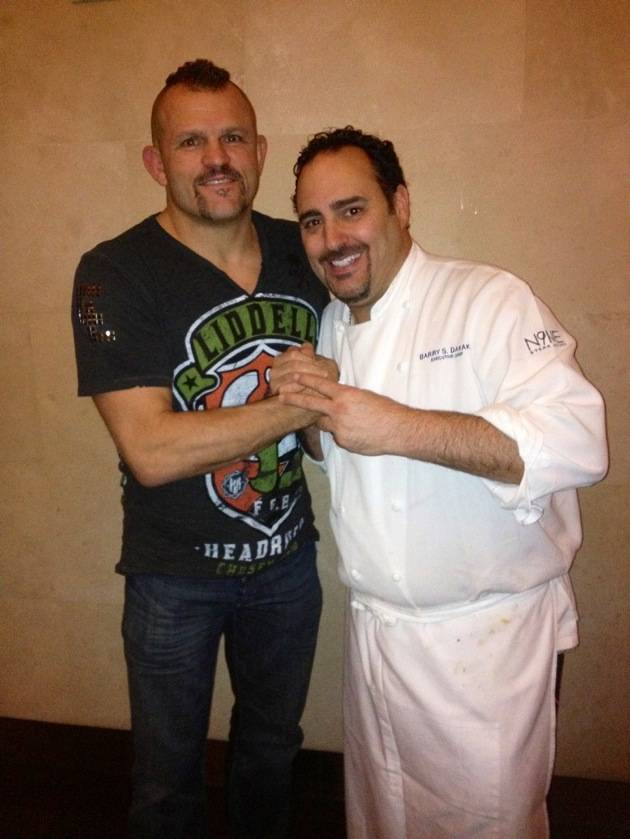 Chuck Liddell with Chef Barry Dakake at N9NE Steakhouse in Palms Casino Resort