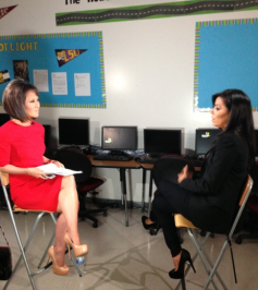 Being interviewed by Alina Cho from CNN today at the PIQE graduation!!—Eva Longoria