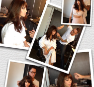 Fun shoot today with Chris McMillan. He just can't control his scissor hands! #bangs. —Kim Kardashian