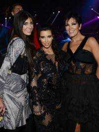 Brittny Gastineau, Kim Kardashian and Kris Jenner celebrate New Years Eve countdown at 1OAK Nightclub.