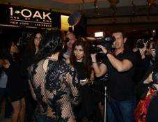 Kim Kardashian arrives for the New Year's Eve countdown at 1 OAK Nightclub.