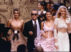 A little Chanel action to start your day: Me w/ Helena Christensen, Karl Lagerfeld and Claudia Schiffer at show in '93. —Cindy Crawford