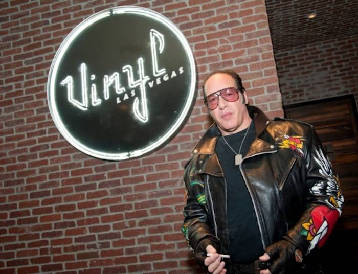 3.12.13 Andrew Dice Clay Poses In Front Of His New Home Vinyl at Hard Rock Hotel & Casino in Honor of His Residency, credit Pat Gray-Erik Kabik Photography