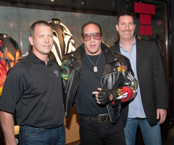 3.12.13 Jody Lake, Andrew Dice Clay and Paul Davis Pose In Front of Clay's Memorabilia Case In Honor of His Residency at Vinyl in Hard Rock Hotel & Casino, credit Pat Gray-Erik Kabik Photography