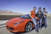 Jersey Boys cast with a Ferrari 458.