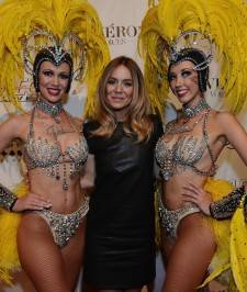 "Veronic Dicaire (C) and the Jubilee showgirls arrive at the ""Veronic Voices"" premiere. Photos: Denise Truscello/WireImage"