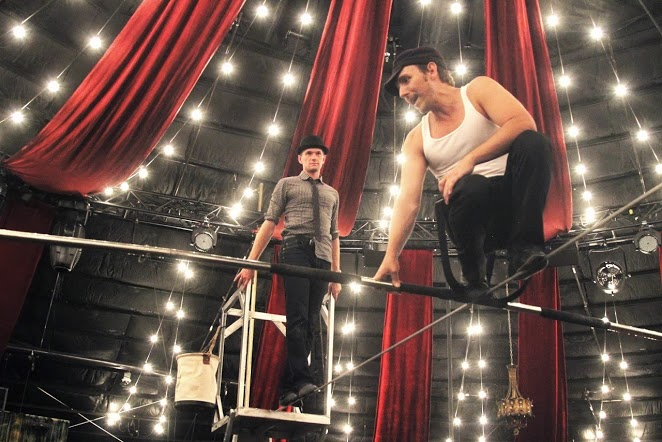 "Neil Patrick Harris walks the tightrope at ""Absinthe"" with Tony Hernandez. Photos: Tony Hernandez"
