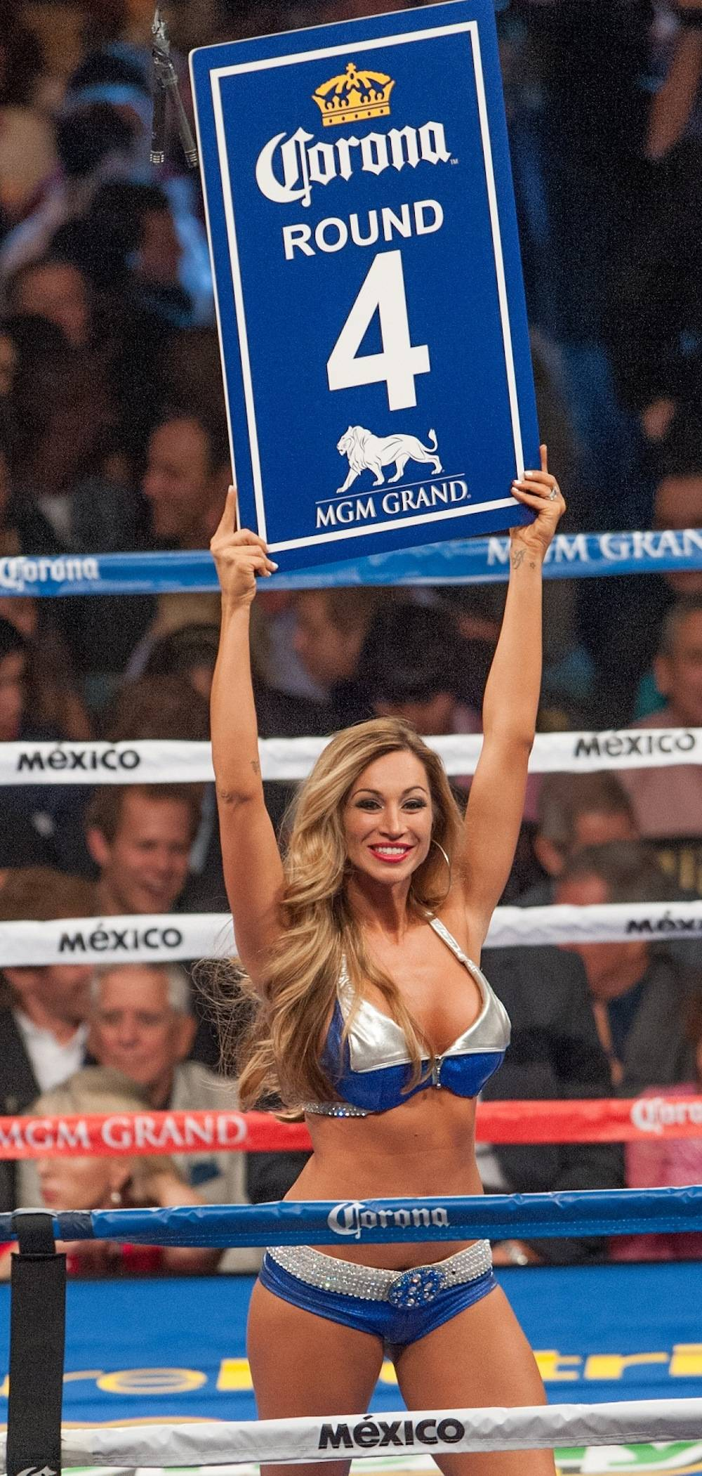 Jaime Lynch as Ring Girl Round 4 Mayweather v. Canelo