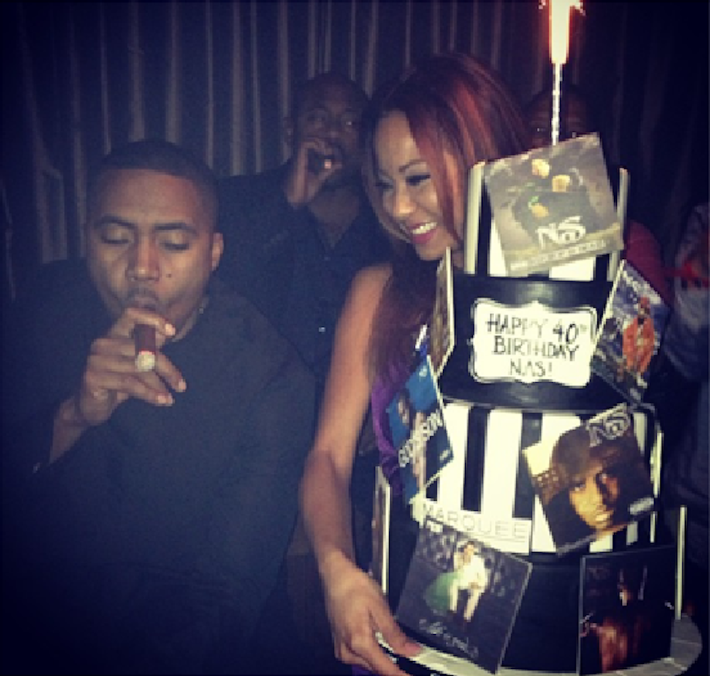 Nas with his birthday cake at Marquee.
