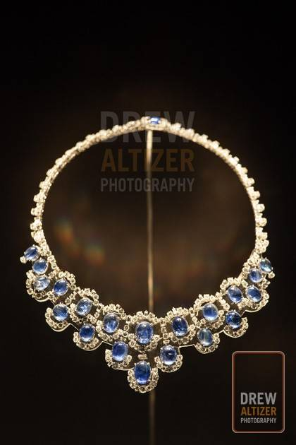 Necklace and pendant earrings, 1955 Platinum with sapphires and diamonds- drew
