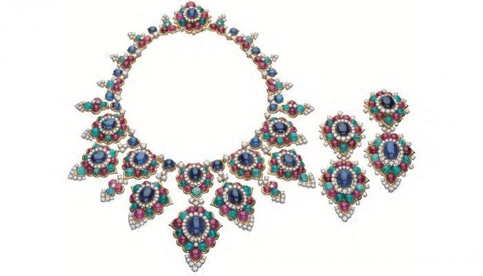 Necklace and pendant earrings, 1967 Gold with sapphires, emeralds, rubies, and diamonds robbreport.com