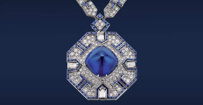 Sautoir, 1969. Platinum with sapphires and diamonds Formerly in Elizabeth Taylor's collection Photo: deyoung.famsf.org