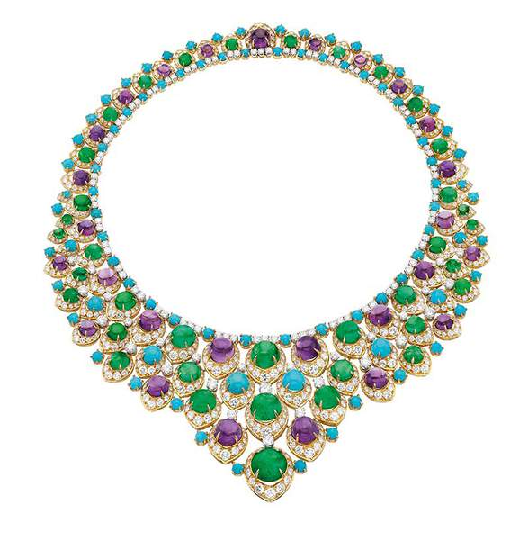 Bib necklace, 1965 Gold with emeralds, amethysts, turquoise, and diamonds Photo: deyoung.famsf.org